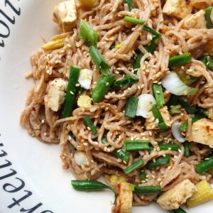 Sesame Noodles with Peanut and Ginger Tofu